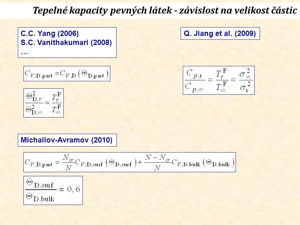 Tepelné kapacity pevných látek - závislost na velikost částic C.C.
