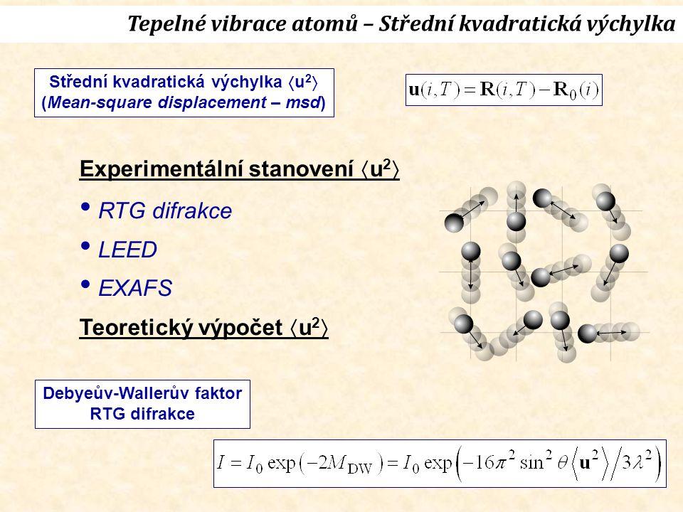 Tepelné vibrace atomů – Střední kvadratická výchylka Střední kvadratická výchylka  u 2  (Mean-square displacement – msd) Debyeův-Wallerův faktor RTG difrakce Experimentální stanovení  u 2  RTG difrakce LEED EXAFS Teoretický výpočet  u 2 