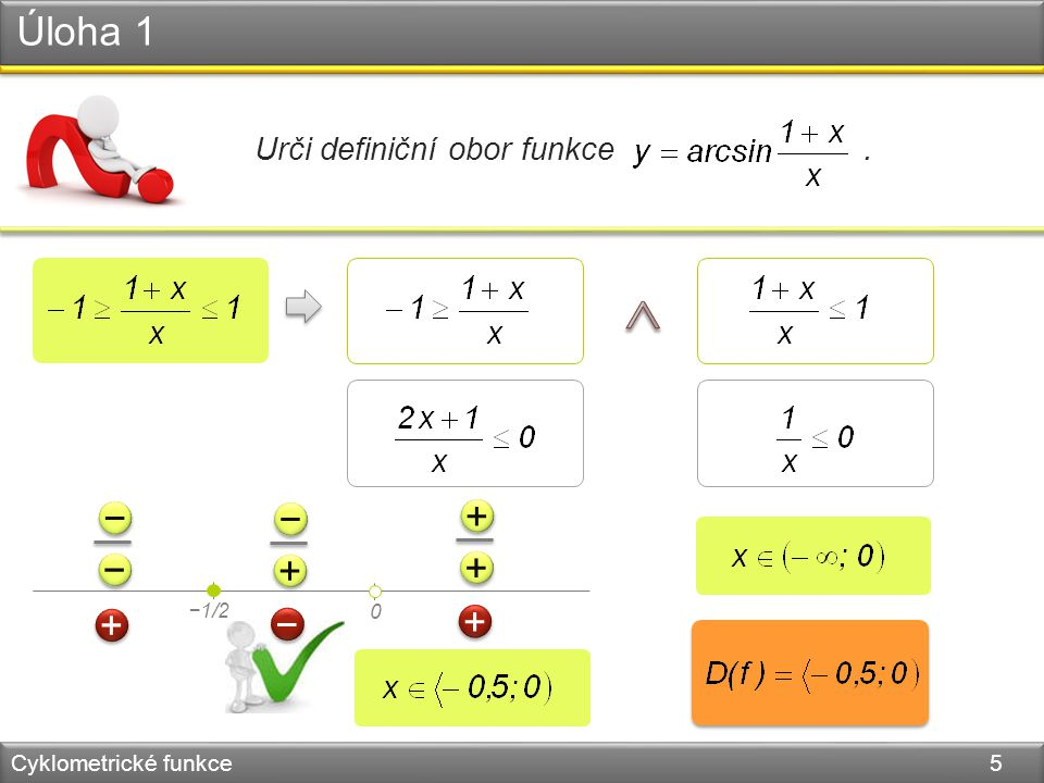 Úloha 1 Cyklometrické funkce 5 Urči definiční obor funkce. 0 −1/2 − − − − + + − − + + + + + + − − + +