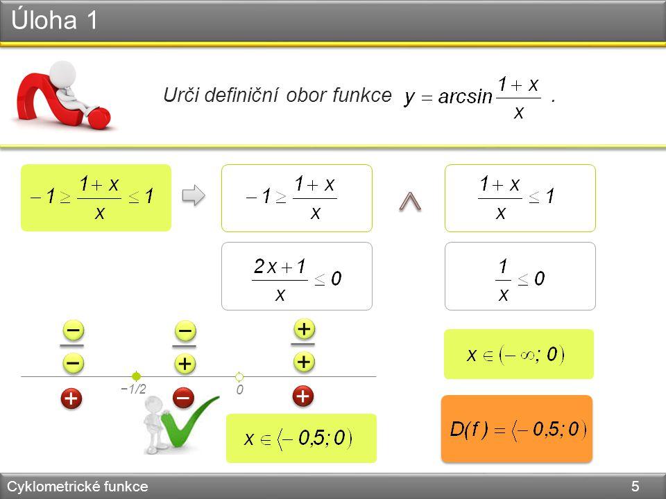 Arkus kosinus Cyklometrické funkce 6 funkce kosinus je prostá pro x   0;  f: y = arccos x y x 0 −1 1  /2 1   −1 y = x y = cos x