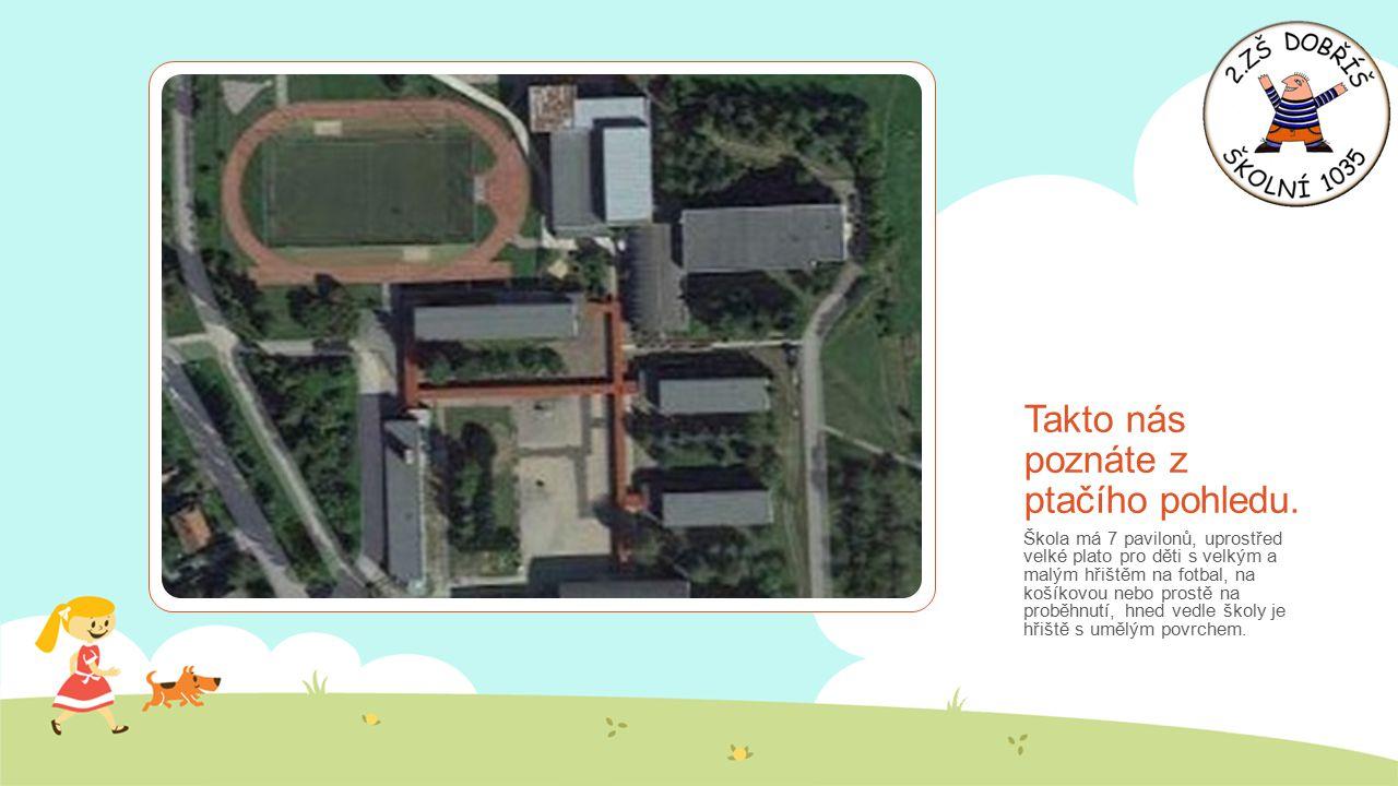 Takto nás poznáte z ptačího pohledu. Škola má 7 pavilonů, uprostřed velké plato pro děti s velkým a malým hřištěm na fotbal, na košíkovou nebo prostě