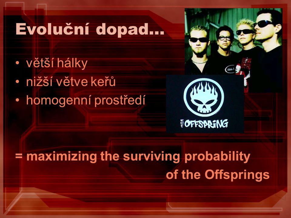 Evoluční dopad… větší hálky nižší větve keřů homogenní prostředí = maximizing the surviving probability of the Offsprings