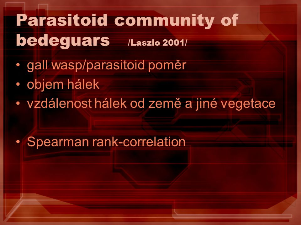 Parasitoid community of bedeguars /Laszlo 2001/ gall wasp/parasitoid poměr objem hálek vzdálenost hálek od země a jiné vegetace Spearman rank-correlat