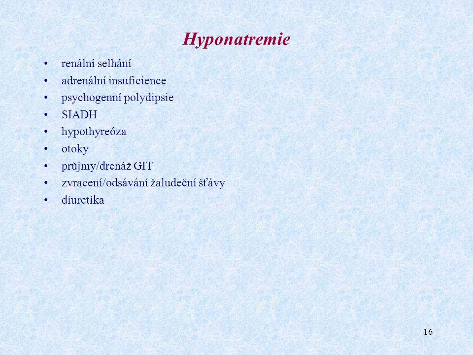 16 Hyponatremie renální selhání adrenální insuficience psychogenní polydipsie SIADH hypothyreóza otoky průjmy/drenáž GIT zvracení/odsávání žaludeční š