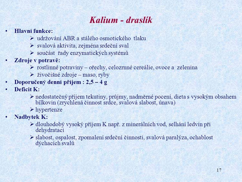 17 Kalium - draslík Hlavní funkce:  udržování ABR a stálého osmotického tlaku  svalová aktivita, zejména srdeční sval  součást řady enzymatických s