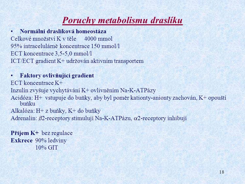 18 Poruchy metabolismu draslíku Normální draslíková homeostáza Celkové množství K v těle 4000 mmol 95% intracelulárněkoncentrace 150 mmol/l ECT koncen