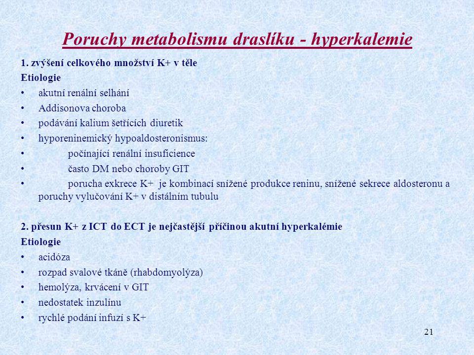 21 Poruchy metabolismu draslíku - hyperkalemie 1. zvýšení celkového množství K+ v těle Etiologie akutní renální selhání Addisonova choroba podávání ka
