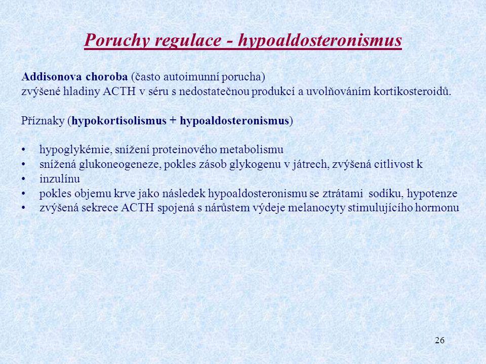 26 Poruchy regulace - hypoaldosteronismus Addisonova choroba (často autoimunní porucha) zvýšené hladiny ACTH v séru s nedostatečnou produkcí a uvolňov