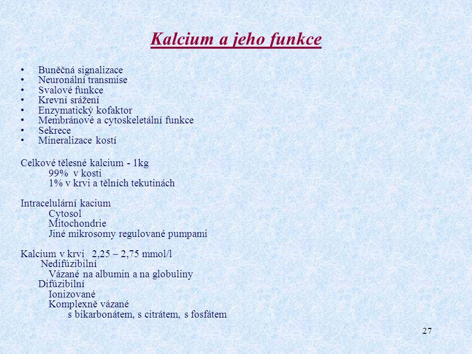 27 Kalcium a jeho funkce Buněčná signalizace Neuronální transmise Svalové funkce Krevní srážení Enzymatický kofaktor Membránové a cytoskeletální funkc