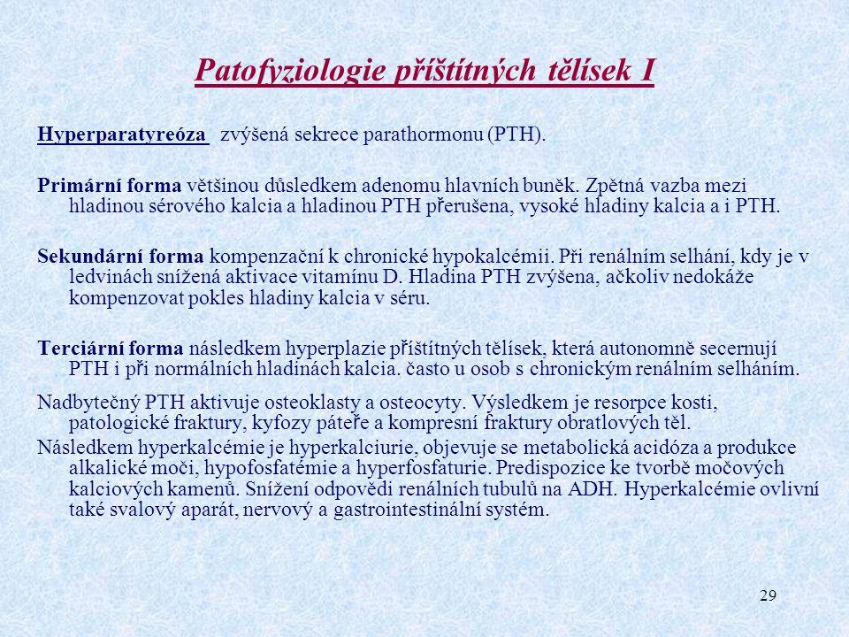 29 Patofyziologie příštítných tělísek I Hyperparatyreóza zvýšená sekrece parathormonu (PTH). Primární forma většinou důsledkem adenomu hlavních buněk.