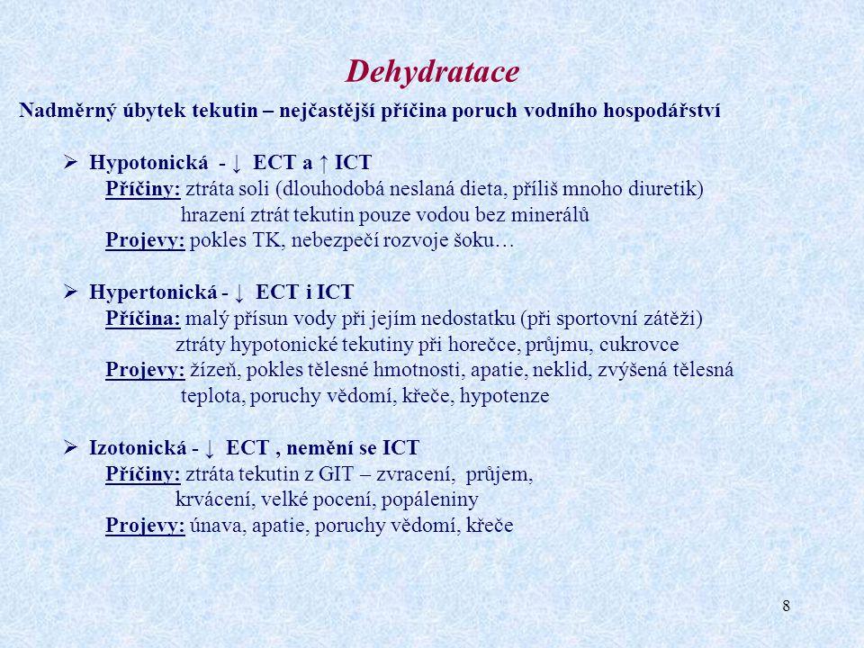 9 Klasifikace poruch - izoosmolalita Situace P-Na+Zásoba Na+ Voda v ECT A Úbytek ECT beze změn osmolality N↓↓ B Zvětšení ECT beze změn osmolality N↑↑ Fyziologický stav NNN