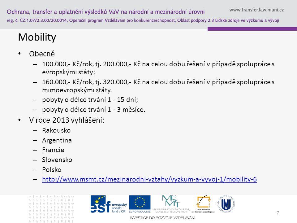 7 Mobility Obecně – 100.000,- Kč/rok, tj.