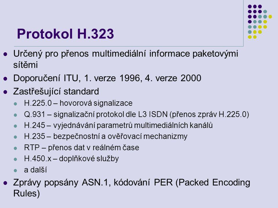 Protokol H.323 Určený pro přenos multimediální informace paketovými sítěmi Doporučení ITU, 1. verze 1996, 4. verze 2000 Zastřešující standard H.225.0