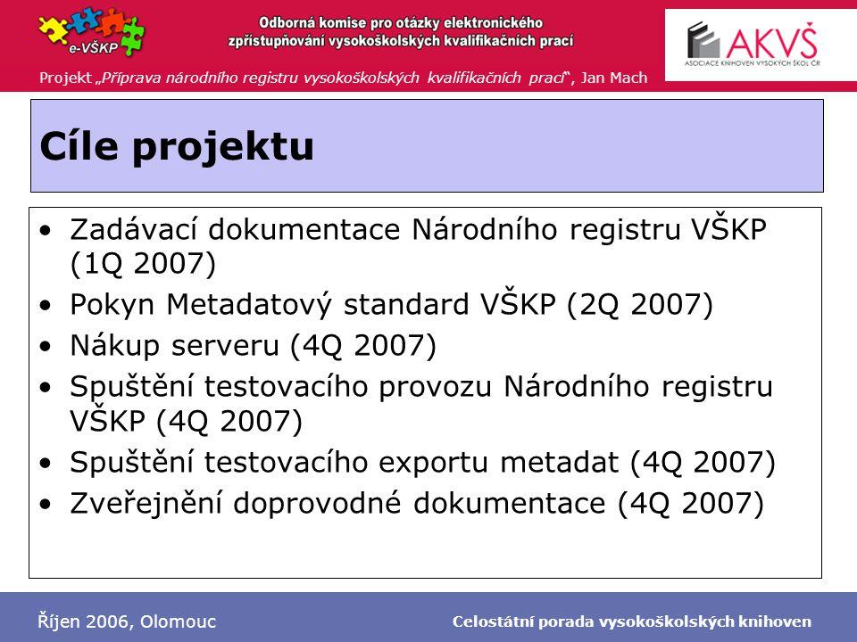 """Projekt """"Příprava národního registru vysokoškolských kvalifikačních prací"""", Jan Mach Říjen 2006, Olomouc Celostátní porada vysokoškolských knihoven Cí"""