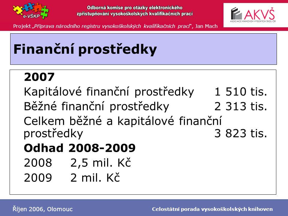 """Projekt """"Příprava národního registru vysokoškolských kvalifikačních prací , Jan Mach Říjen 2006, Olomouc Celostátní porada vysokoškolských knihoven Finanční prostředky  2007  Kapitálové finanční prostředky1 510 tis."""