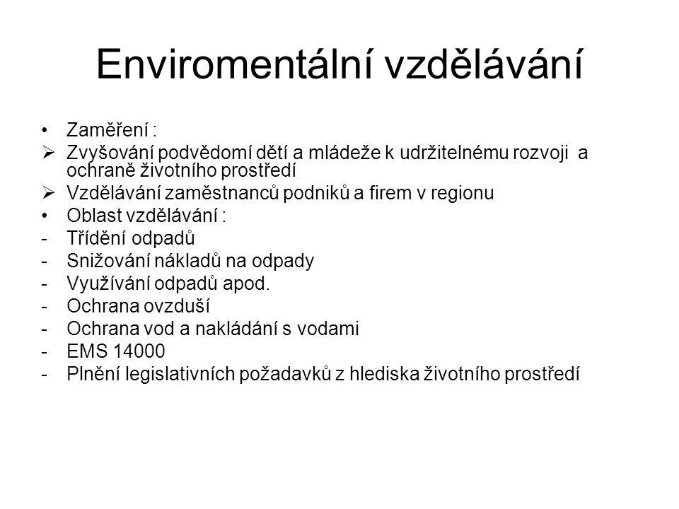 Enviromentální vzdělávání Zaměření :  Zvyšování podvědomí dětí a mládeže k udržitelnému rozvoji a ochraně životního prostředí  Vzdělávání zaměstnanců podniků a firem v regionu Oblast vzdělávání : -Třídění odpadů -Snižování nákladů na odpady -Využívání odpadů apod.