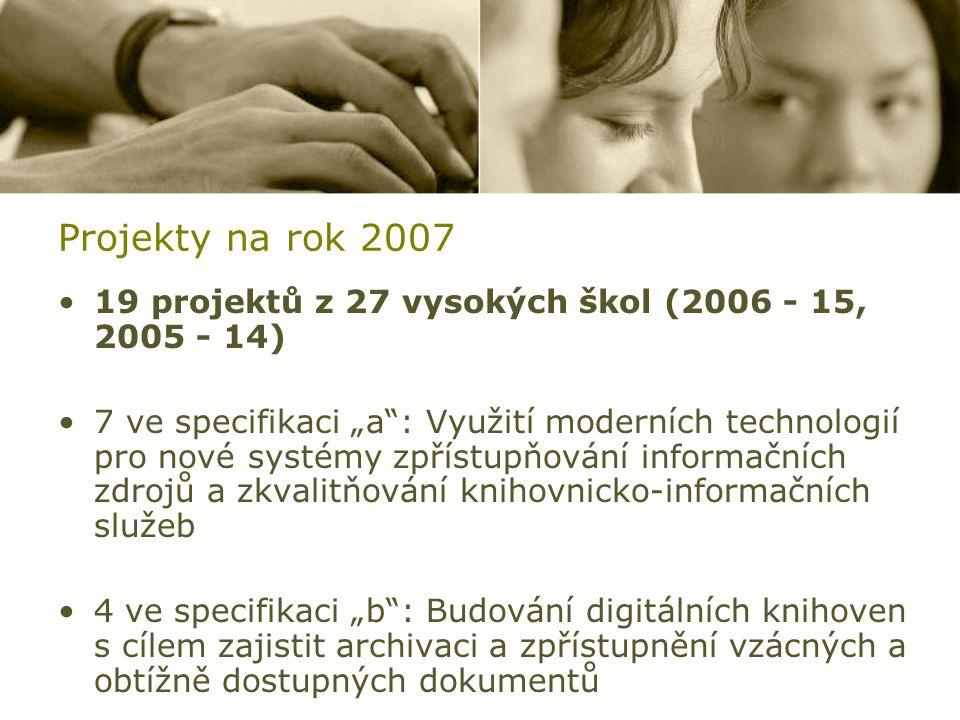 """Projekty na rok 2007 19 projektů z 27 vysokých škol (2006 - 15, 2005 - 14) 7 ve specifikaci """"a : Využití moderních technologií pro nové systémy zpřístupňování informačních zdrojů a zkvalitňování knihovnicko-informačních služeb 4 ve specifikaci """"b : Budování digitálních knihoven s cílem zajistit archivaci a zpřístupnění vzácných a obtížně dostupných dokumentů"""