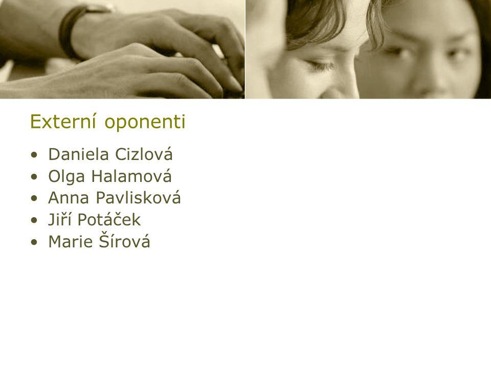 Externí oponenti Daniela Cizlová Olga Halamová Anna Pavlisková Jiří Potáček Marie Šírová
