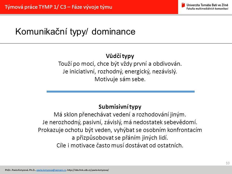 Komunikační typy/ dominance 10 PhDr.