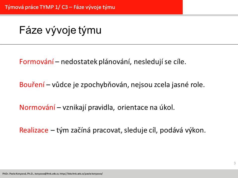 PhDr. Pavla Kotyzová, Ph.D., kotyzova@fmk.utb.cz, http://lide.fmk.utb.cz/pavla-kotyzova/ 3 Fáze vývoje týmu Týmová práce TYMP 1/ C3 – Fáze vývoje týmu