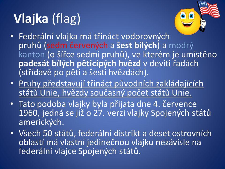 Vlajka (flag) Federální vlajka má třináct vodorovných pruhů (sedm červených a šest bílých) a modrý kanton (o šířce sedmi pruhů), ve kterém je umístěno