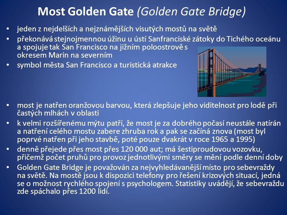 jeden z nejdelších a nejznámějších visutých mostů na světě překonává stejnojmennou úžinu u ústí Sanfranciské zátoky do Tichého oceánu a spojuje tak Sa