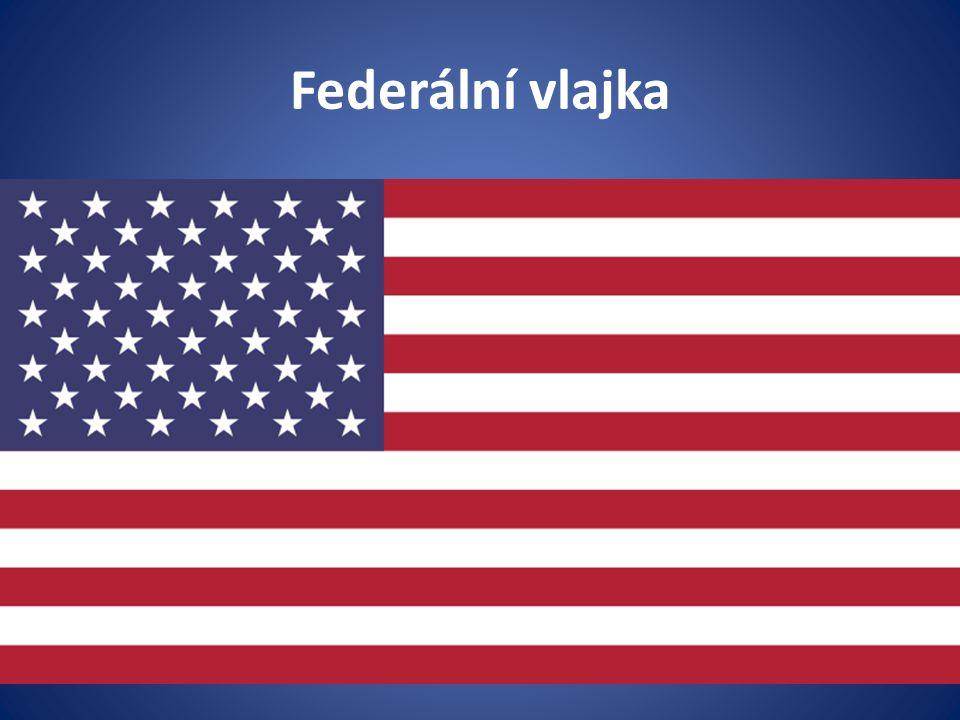Vlajka (flag) Federální vlajka má třináct vodorovných pruhů (sedm červených a šest bílých) a modrý kanton (o šířce sedmi pruhů), ve kterém je umístěno padesát bílých pěticípých hvězd v devíti řadách (střídavě po pěti a šesti hvězdách).