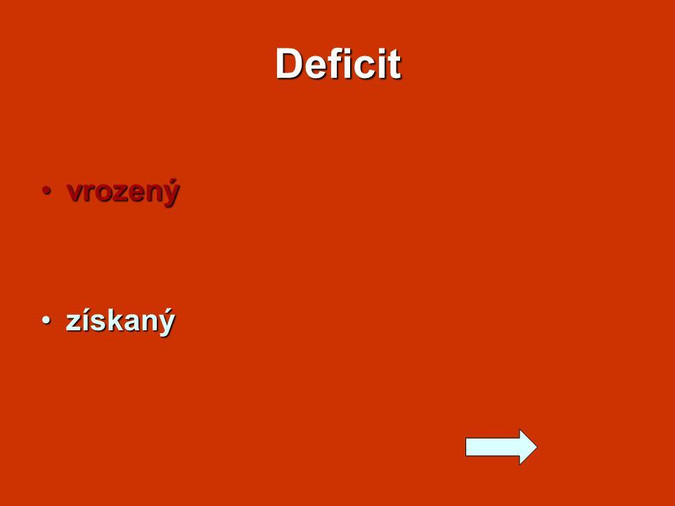 Deficit vrozenývrozený získanýzískaný