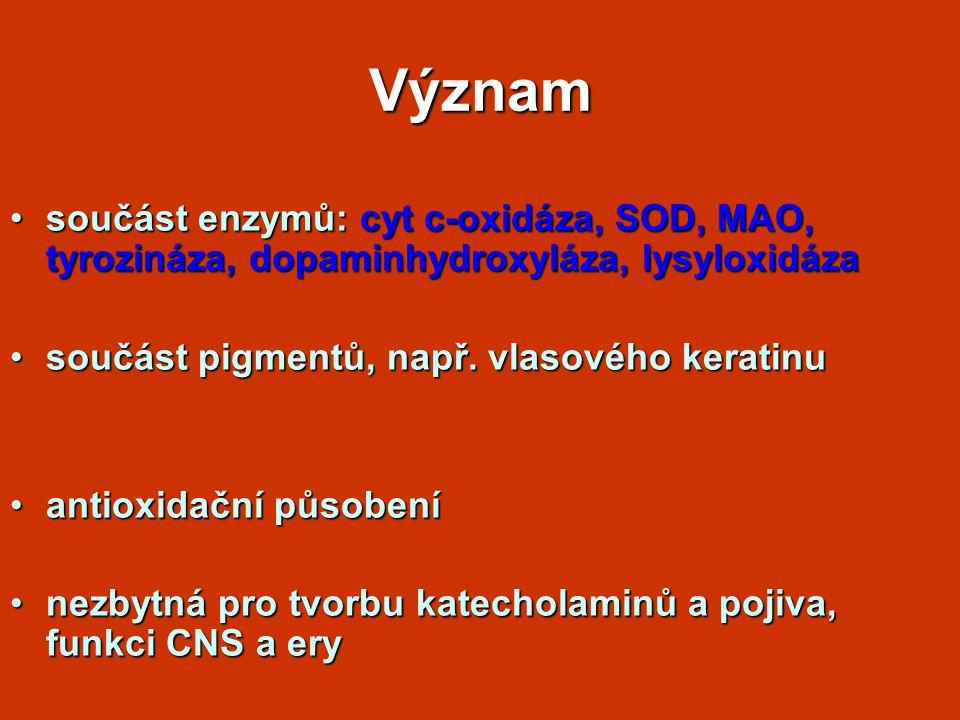 Význam součást enzymů: cyt c-oxidáza, SOD, MAO, tyrozináza, dopaminhydroxyláza, lysyloxidázasoučást enzymů: cyt c-oxidáza, SOD, MAO, tyrozináza, dopaminhydroxyláza, lysyloxidáza součást pigmentů, např.