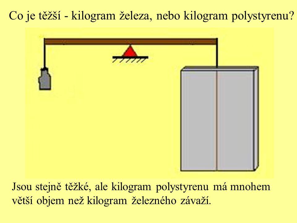 Co je těžší - kilogram železa, nebo kilogram polystyrenu? Jsou stejně těžké, ale kilogram polystyrenu má mnohem větší objem než kilogram železného záv