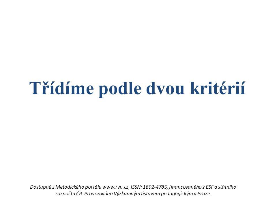 Třídíme podle dvou kritérií Dostupné z Metodického portálu www.rvp.cz, ISSN: 1802-4785, financovaného z ESF a státního rozpočtu ČR. Provozováno Výzkum