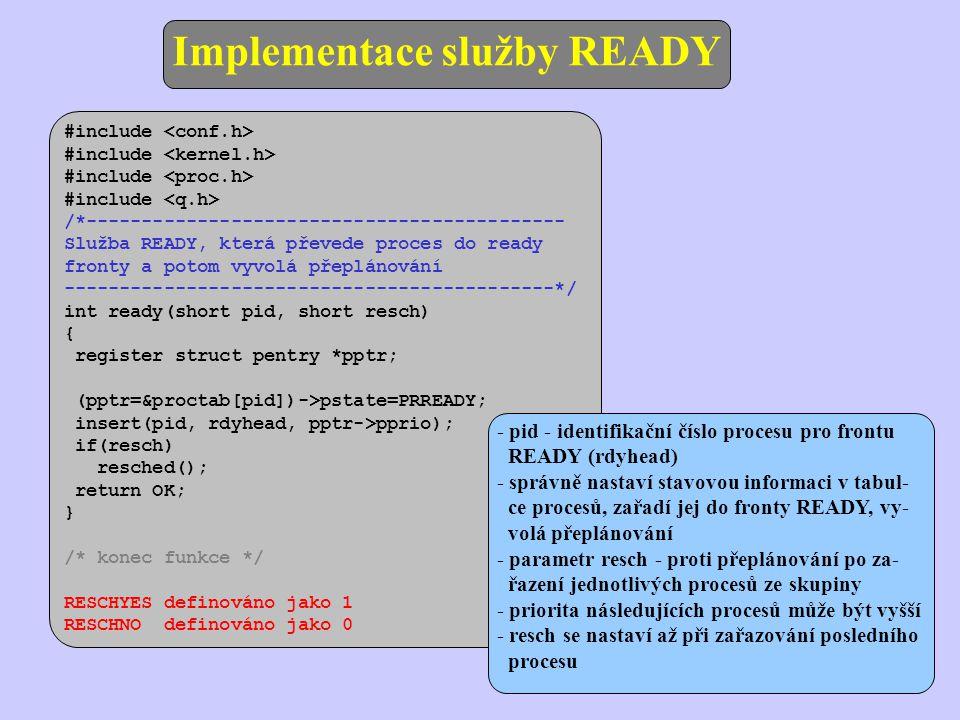 - pid - identifikační číslo procesu pro frontu READY (rdyhead) - správně nastaví stavovou informaci v tabul- ce procesů, zařadí jej do fronty READY, v