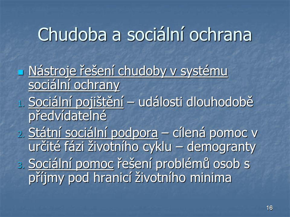 16 Chudoba a sociální ochrana Nástroje řešení chudoby v systému sociální ochrany Nástroje řešení chudoby v systému sociální ochrany 1. Sociální pojišt