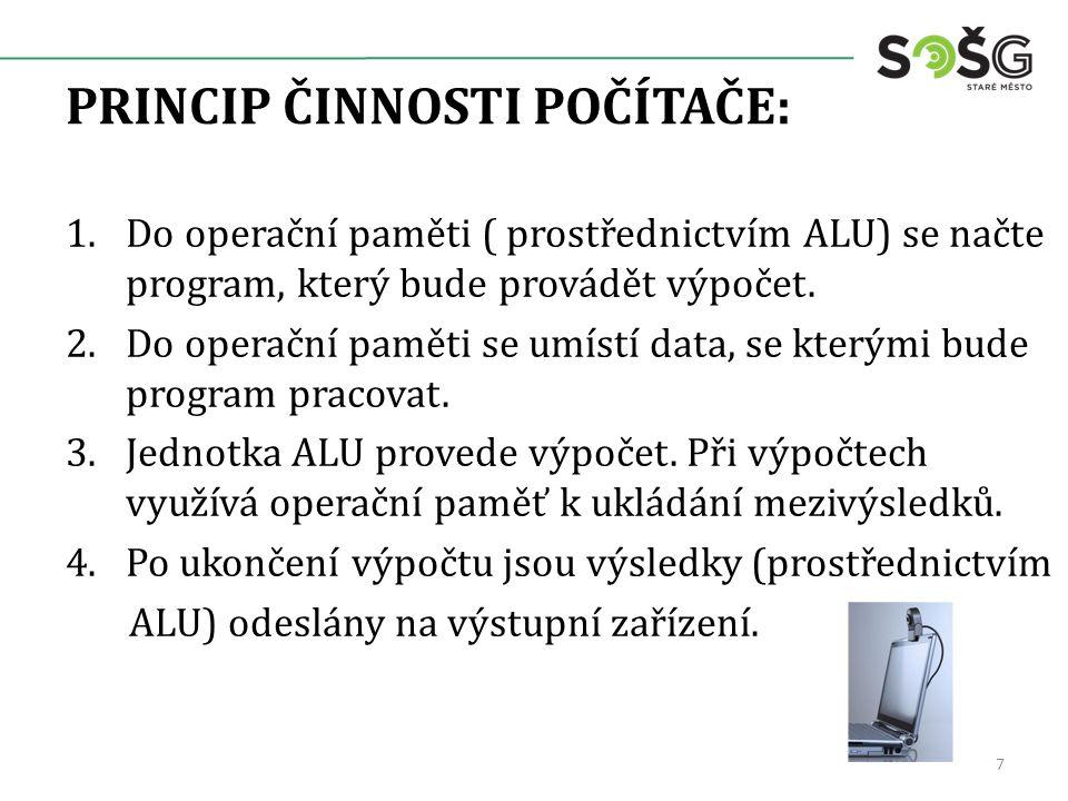 PRINCIP ČINNOSTI POČÍTAČE: 1.Do operační paměti ( prostřednictvím ALU) se načte program, který bude provádět výpočet.