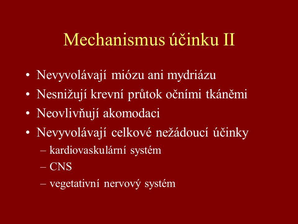 Mechanismus účinku II Nevyvolávají miózu ani mydriázu Nesnižují krevní průtok očními tkáněmi Neovlivňují akomodaci Nevyvolávají celkové nežádoucí účinky –kardiovaskulární systém –CNS –vegetativní nervový systém