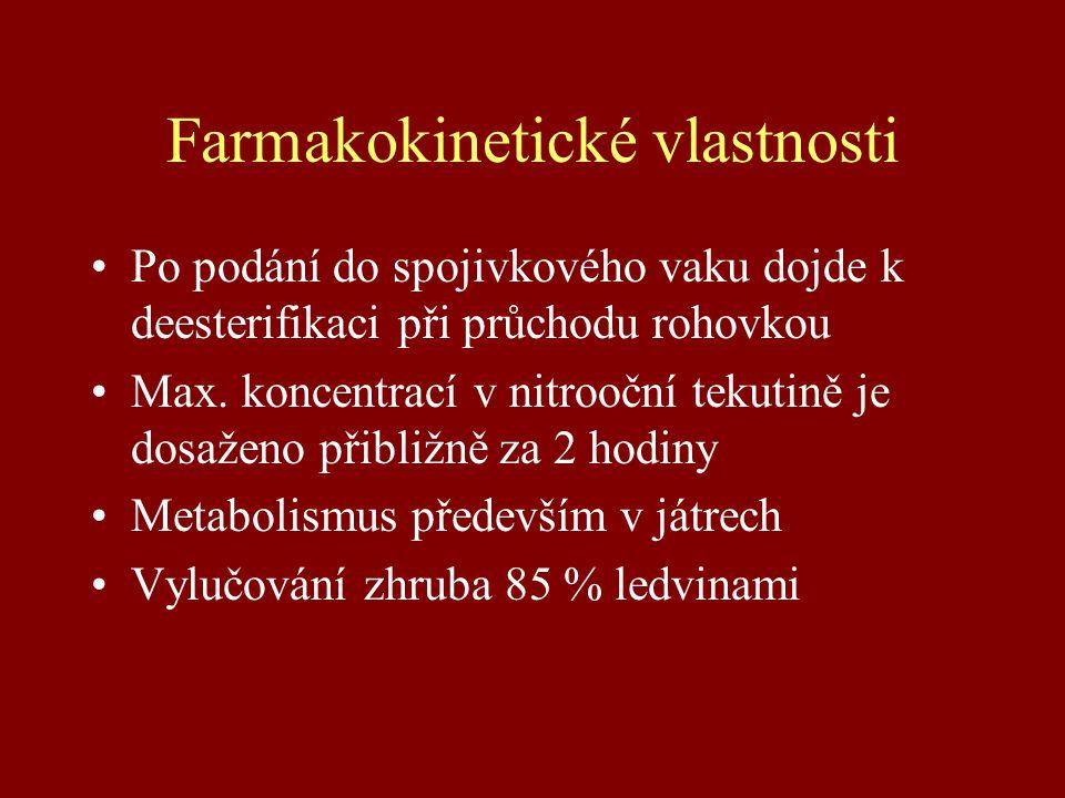 Farmakokinetické vlastnosti Po podání do spojivkového vaku dojde k deesterifikaci při průchodu rohovkou Max. koncentrací v nitrooční tekutině je dosaž
