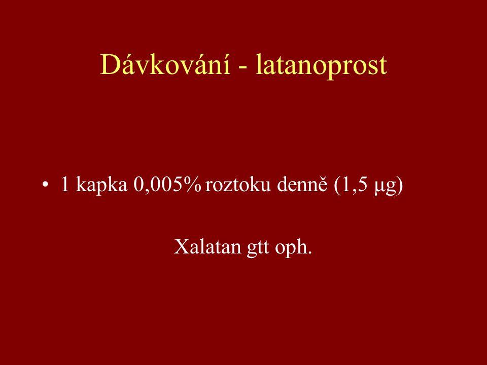 Dávkování - latanoprost 1 kapka 0,005% roztoku denně (1,5 μg) Xalatan gtt oph.