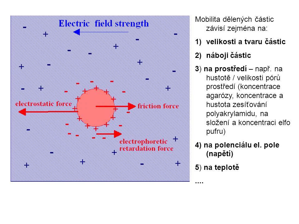 Mobilita dělených částic závisí zejména na: 1)velikosti a tvaru částic 2)náboji částic 3) na prostředí – např.