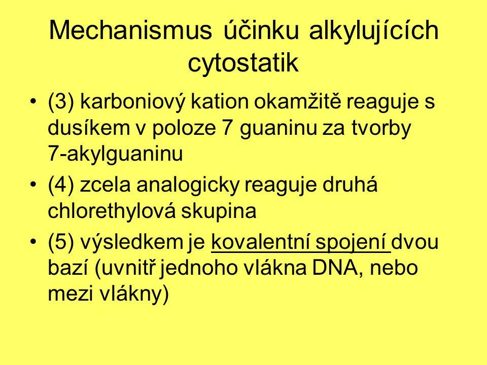 Mechanismus účinku alkylujících cytostatik (3) karboniový kation okamžitě reaguje s dusíkem v poloze 7 guaninu za tvorby 7-akylguaninu (4) zcela analo