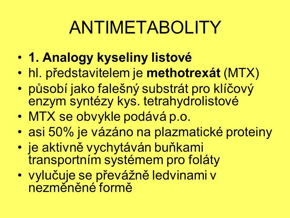 ANTIMETABOLITY 1. Analogy kyseliny listové hl. představitelem je methotrexát (MTX) působí jako falešný substrát pro klíčový enzym syntézy kys. tetrahy