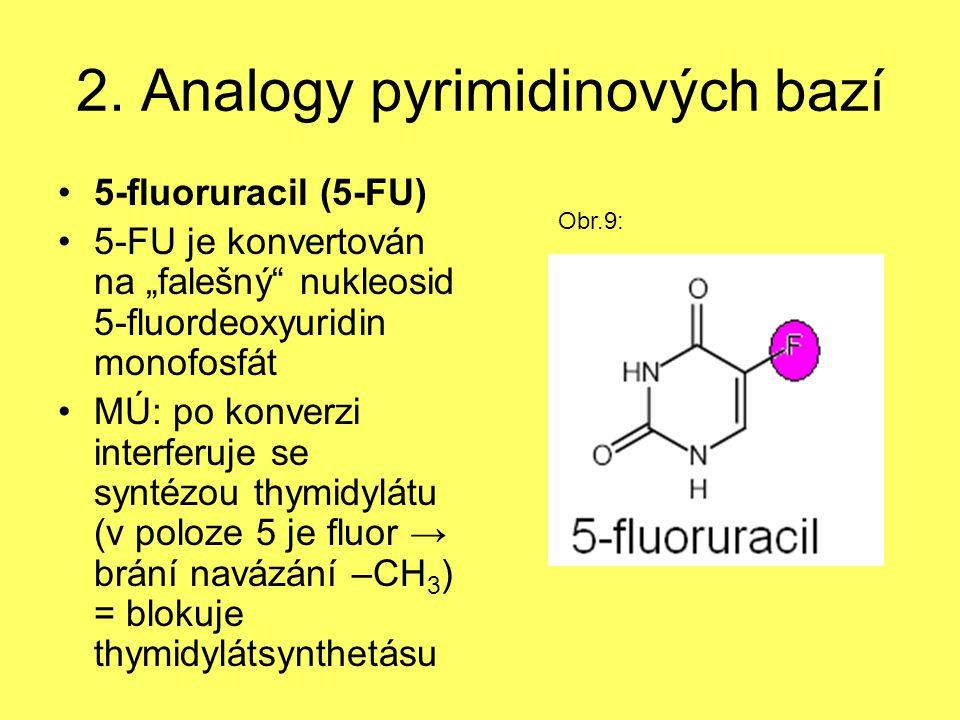 """2. Analogy pyrimidinových bazí 5-fluoruracil (5-FU) 5-FU je konvertován na """"falešný"""" nukleosid 5-fluordeoxyuridin monofosfát MÚ: po konverzi interferu"""