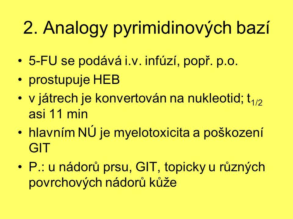 2. Analogy pyrimidinových bazí 5-FU se podává i.v. infúzí, popř. p.o. prostupuje HEB v játrech je konvertován na nukleotid; t 1/2 asi 11 min hlavním N