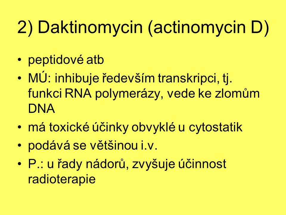 2) Daktinomycin (actinomycin D) peptidové atb MÚ: inhibuje ředevším transkripci, tj. funkci RNA polymerázy, vede ke zlomům DNA má toxické účinky obvyk