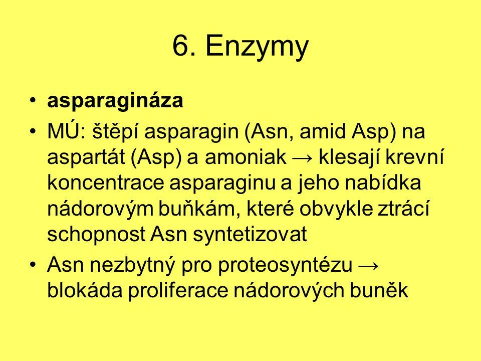 6. Enzymy asparagináza MÚ: štěpí asparagin (Asn, amid Asp) na aspartát (Asp) a amoniak → klesají krevní koncentrace asparaginu a jeho nabídka nádorový