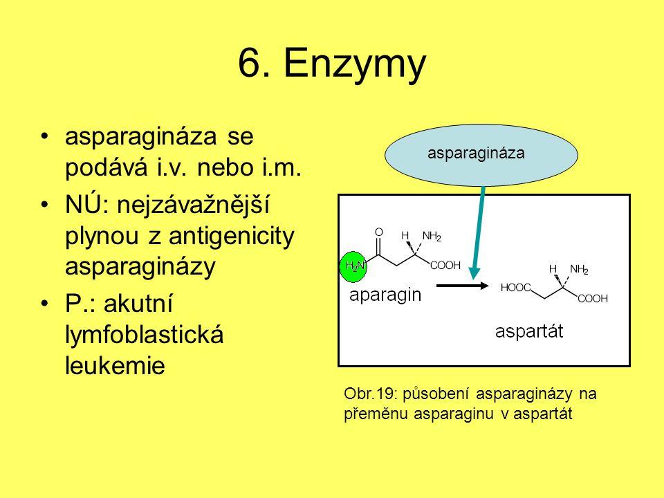 6. Enzymy asparagináza se podává i.v. nebo i.m. NÚ: nejzávažnější plynou z antigenicity asparaginázy P.: akutní lymfoblastická leukemie asparagináza O