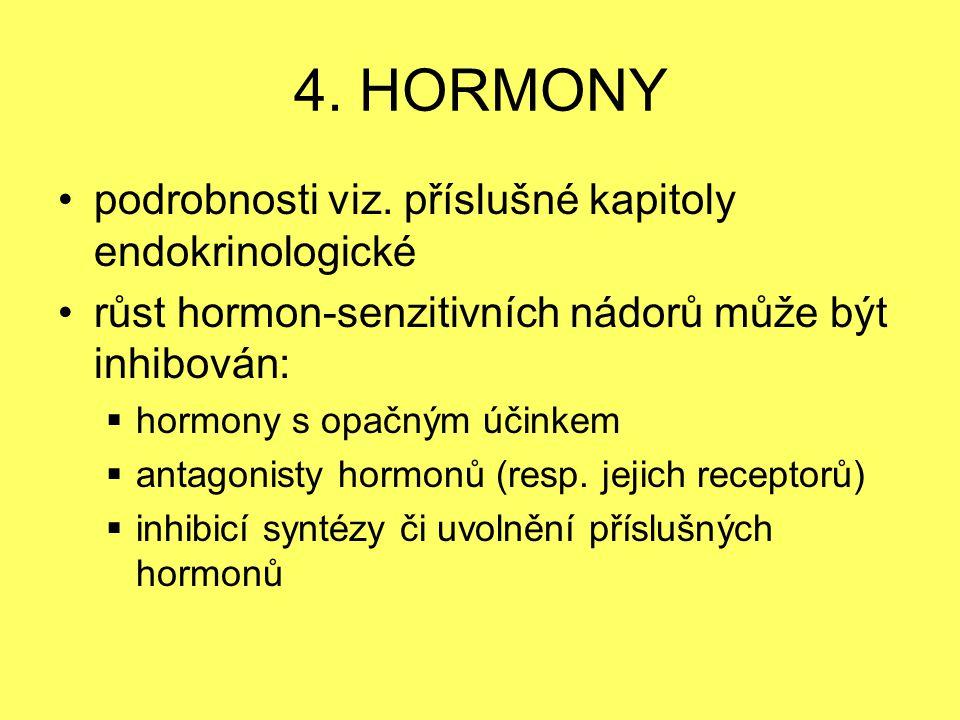 4. HORMONY podrobnosti viz. příslušné kapitoly endokrinologické růst hormon-senzitivních nádorů může být inhibován:  hormony s opačným účinkem  anta