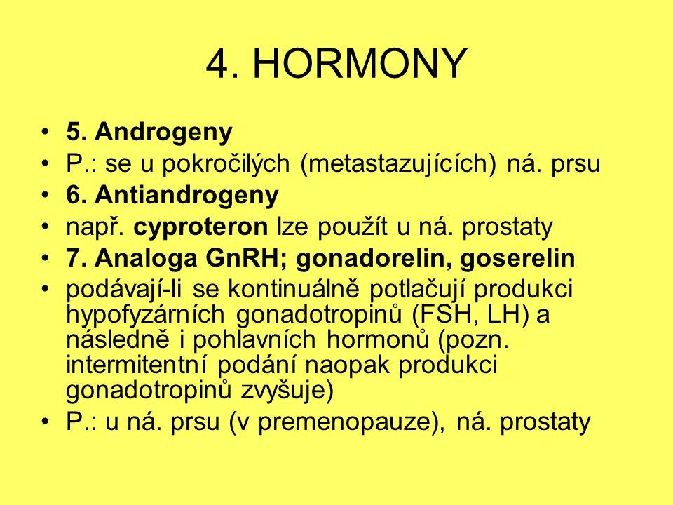 4. HORMONY 5. Androgeny P.: se u pokročilých (metastazujících) ná. prsu 6. Antiandrogeny např. cyproteron lze použít u ná. prostaty 7. Analoga GnRH; g