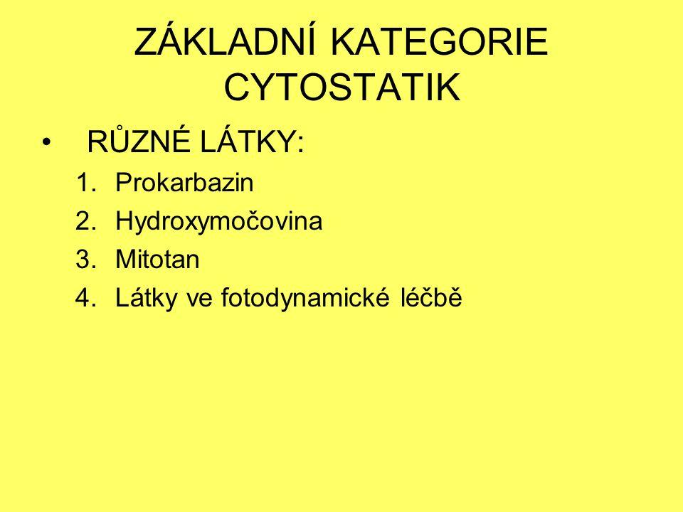 ZÁKLADNÍ KATEGORIE CYTOSTATIK RŮZNÉ LÁTKY: 1.Prokarbazin 2.Hydroxymočovina 3.Mitotan 4.Látky ve fotodynamické léčbě