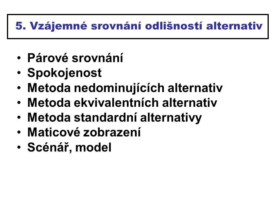 5. Vzájemné srovnání odlišností alternativ Párové srovnání Spokojenost Metoda nedominujících alternativ Metoda ekvivalentních alternativ Metoda standa