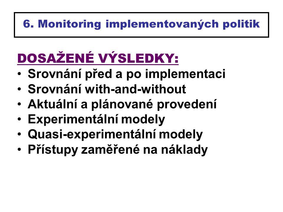 6. Monitoring implementovaných politik DOSAŽENÉ VÝSLEDKY: Srovnání před a po implementaci Srovnání with-and-without Aktuální a plánované provedení Exp